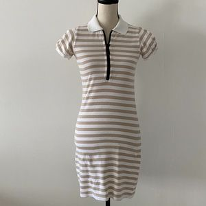 Burberry Polo Shirt Striped Tan White Casual Dress